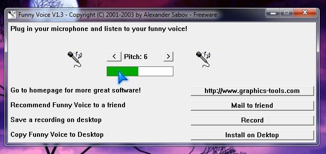 Funny Voice, program gratuit pentru modificat vocea