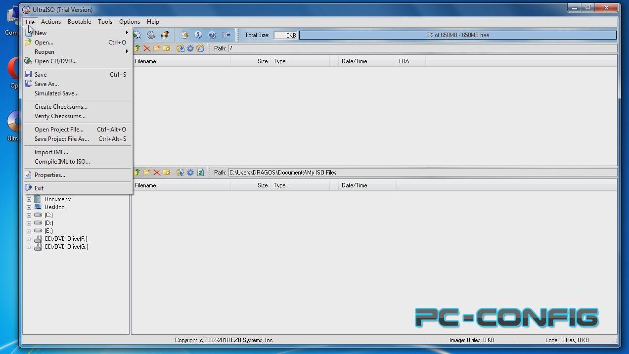UltraISO, program de manipulat imagini ISO