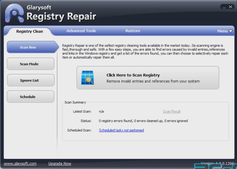 Glarysoft Registry Repair, soft de curatat si optimizat registrii
