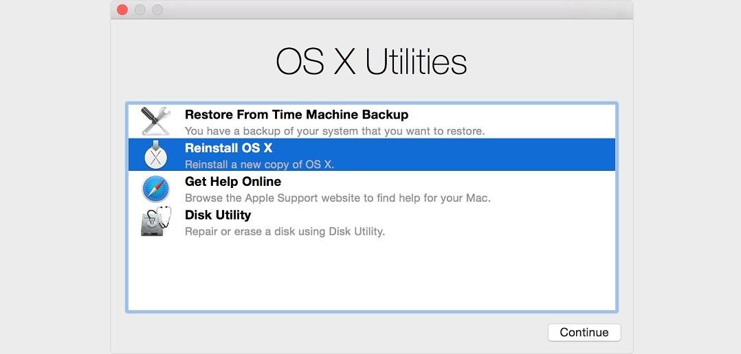 Cum se resetează sistemul de operare OSX?