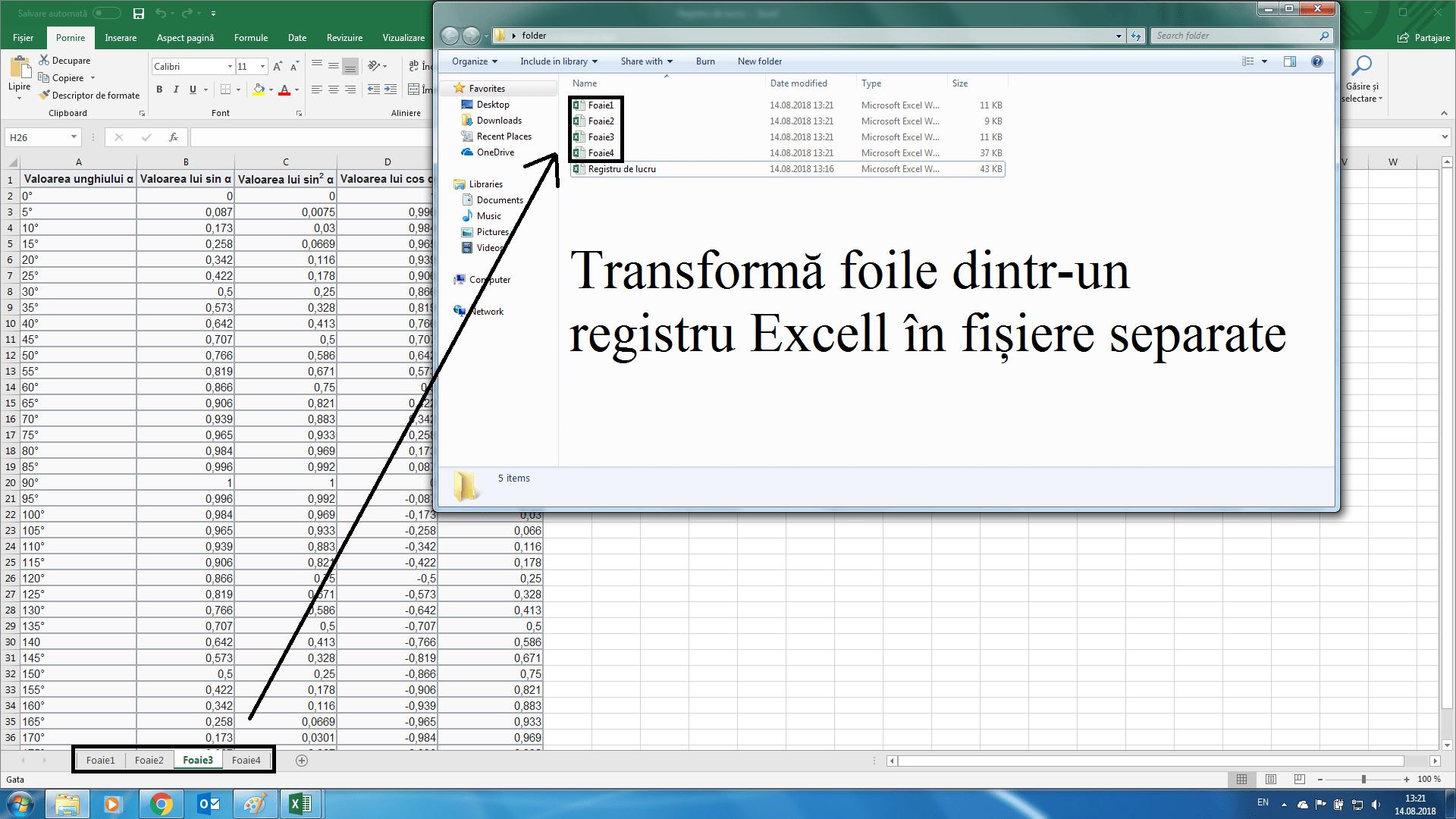 Cum spargi un tabel excell cu mai multe foi în mai multe fișiere?